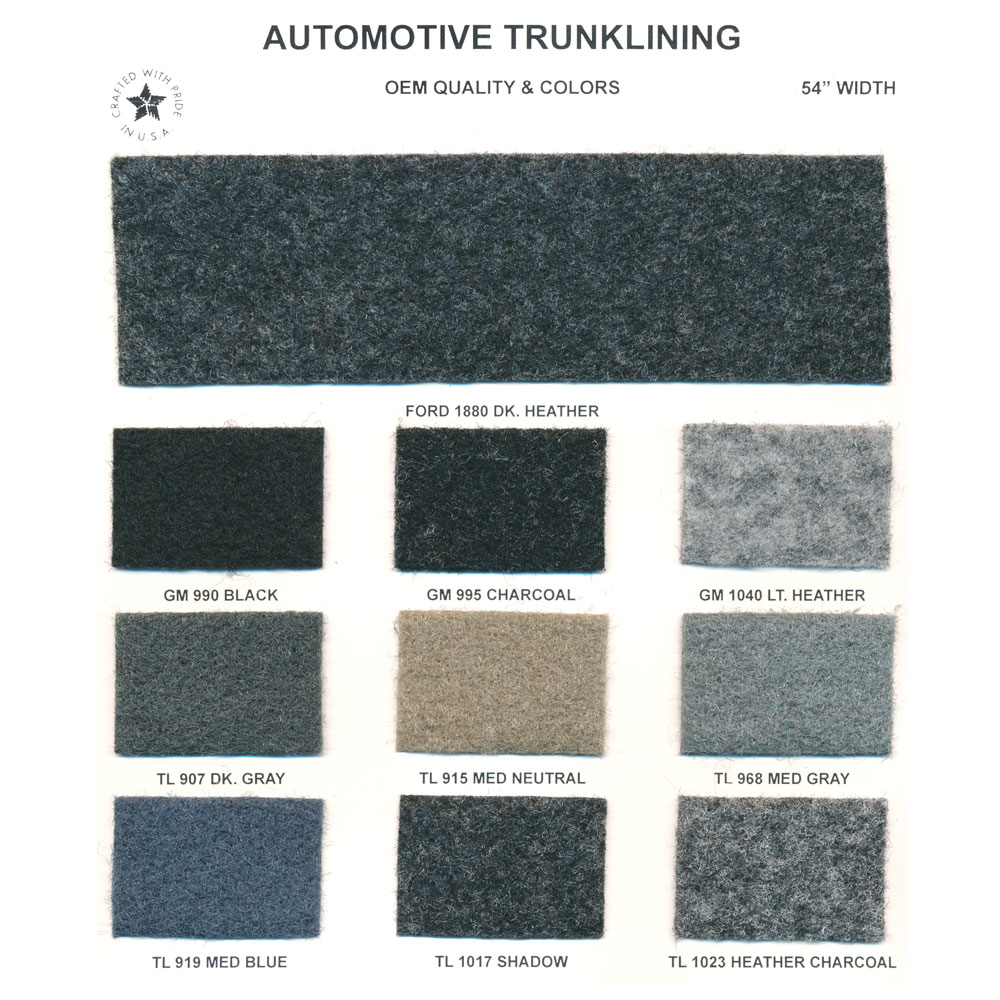 Automotive Trunk Lining Action Upholstery Supply
