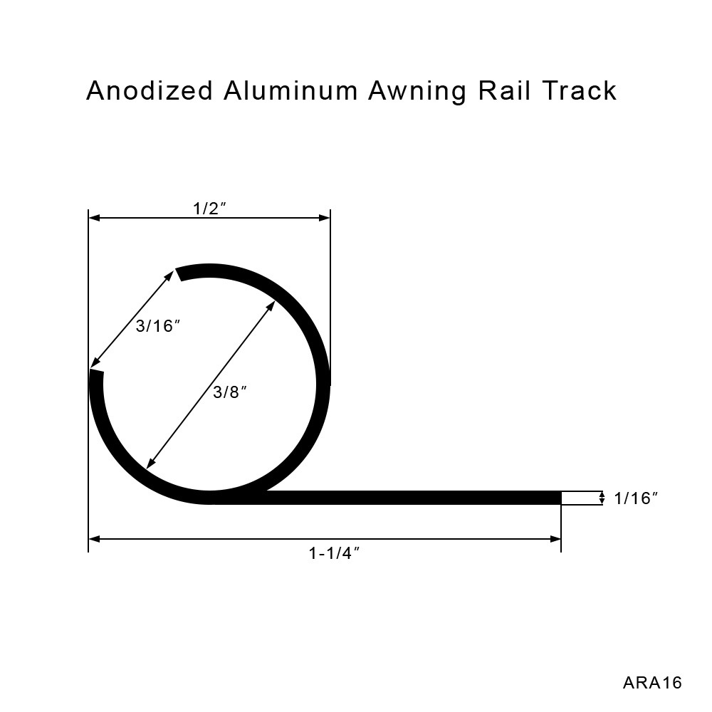 Anodized Aluminum Awning Rail Track - Action Upholstery Supply