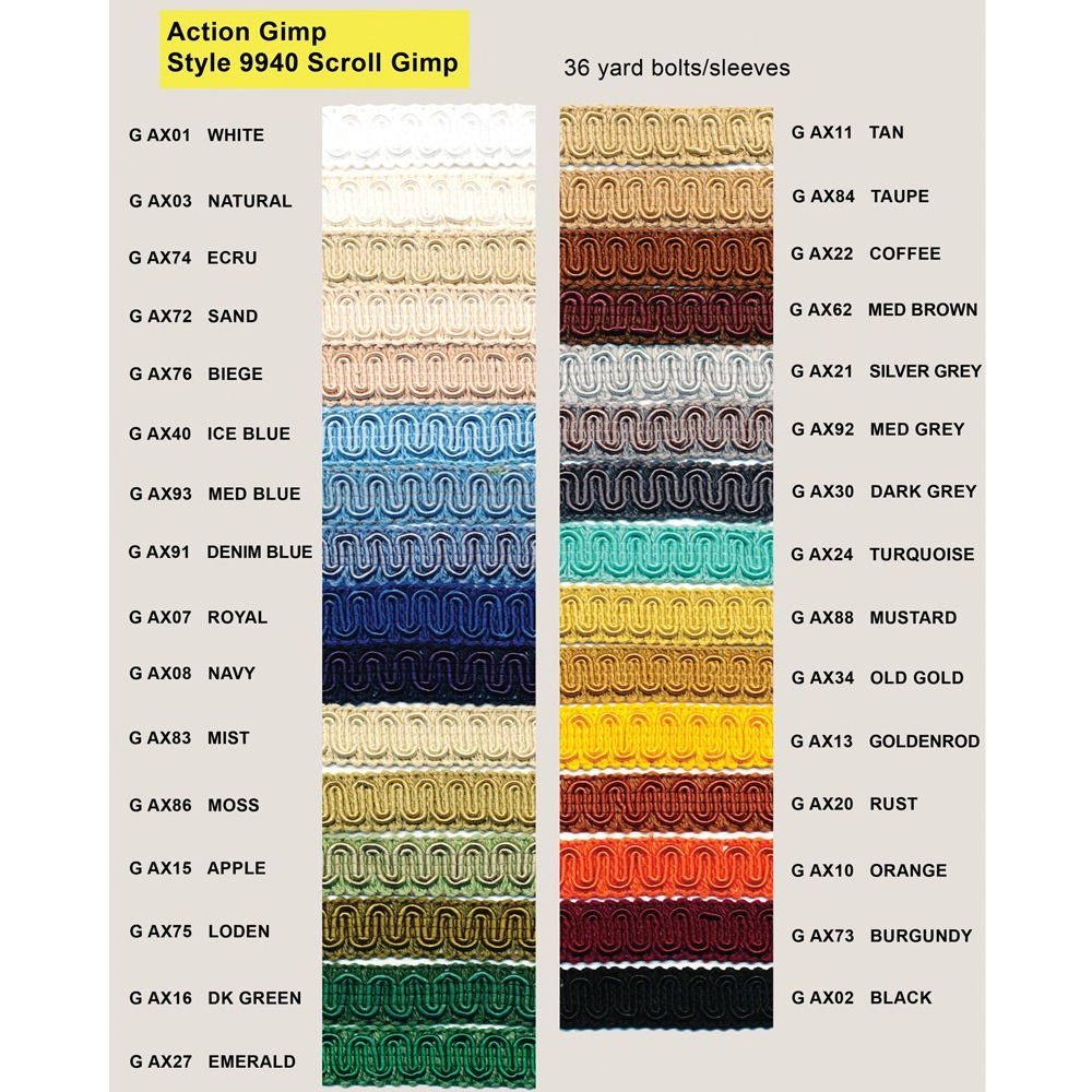 Action Upholstery Supply Gimp Chart